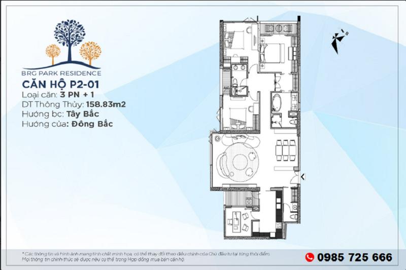 Thiết kế căn hộ 3PN+1 Diện tích 158m2 chung cư BRG Park Residence 25 Lê Văn Lương