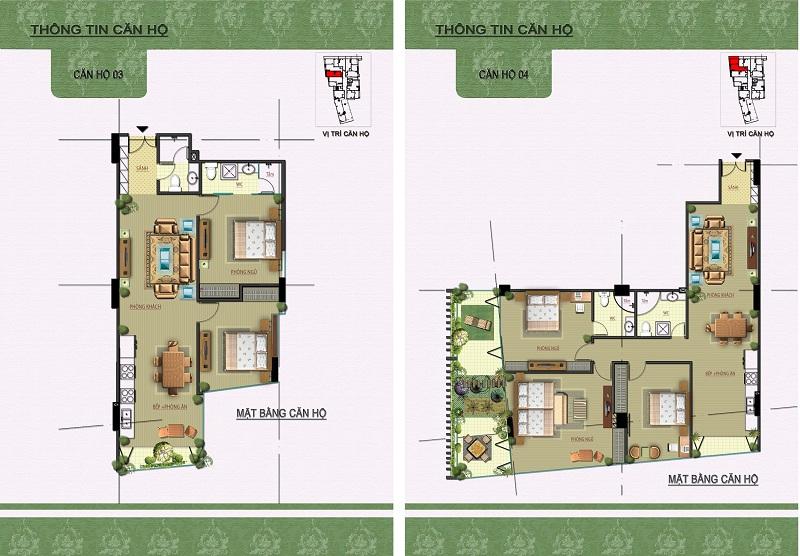 Thiết kế căn hộ 03-04 dự án Núi Trúc Square 17 Ngõ Núi Trúc