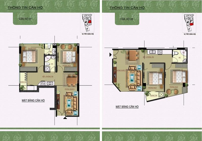 Thiết kế căn hộ 07-08 dự án Núi Trúc Square 17 Ngõ Núi Trúc
