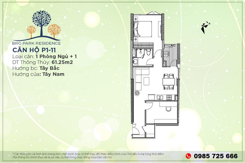 Thiết kế căn hộ 1PN+1 Diện tích 61m2 chung cư BRG Park Residence 25 Lê Văn Lương