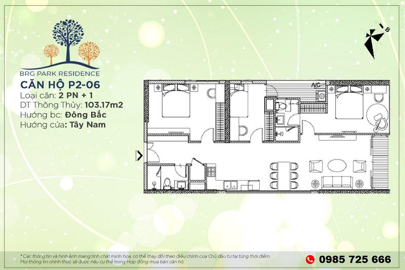 Thiết kế căn hộ 2PN+1 Diện tích 103m2 chung cư BRG Park Residence 25 Lê Văn Lương