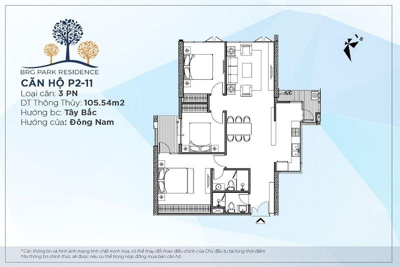 Thiết kế căn hộ 3PN Diện tích 105m2 chung cư BRG Park Residence 25 Lê Văn Lương
