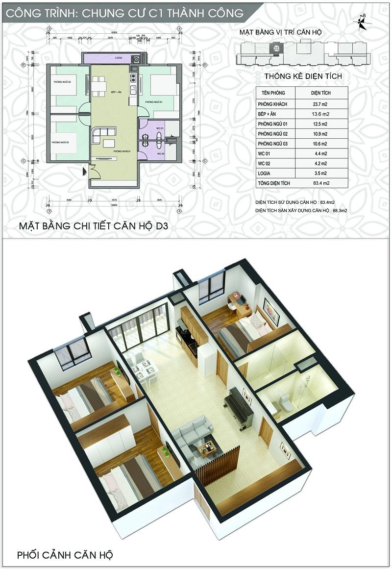 Thiết kế căn hộ D3 dự án chung cư C1 Thành Công
