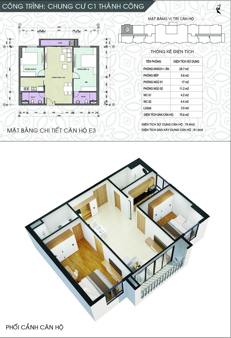 Thiết kế căn hộ E3 dự án chung cư C1 Thành Công