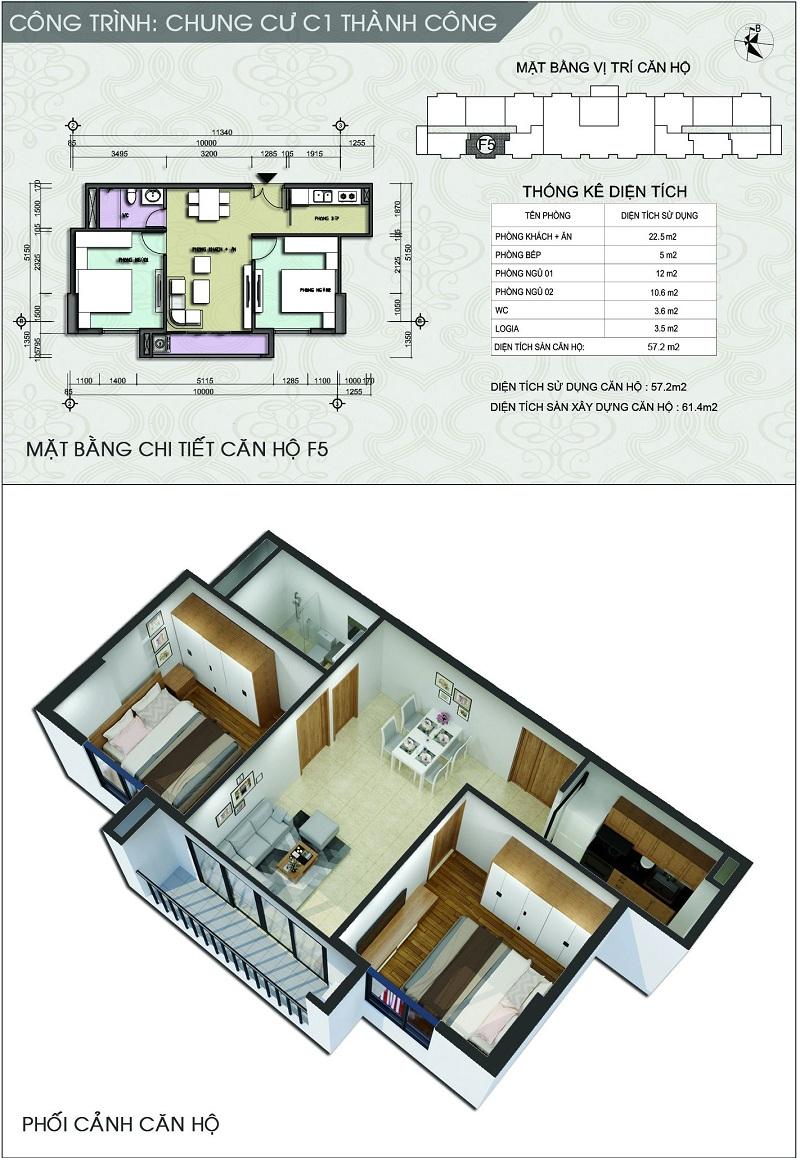 Thiết kế căn hộ F5 dự án chung cư C1 Thành Công