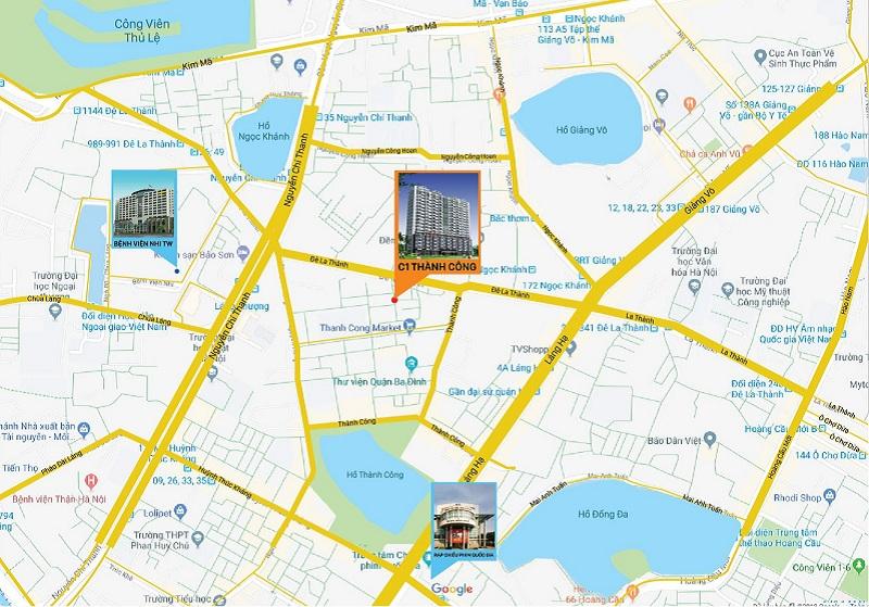 Vị trí dự án chung cư C1 Thành Công