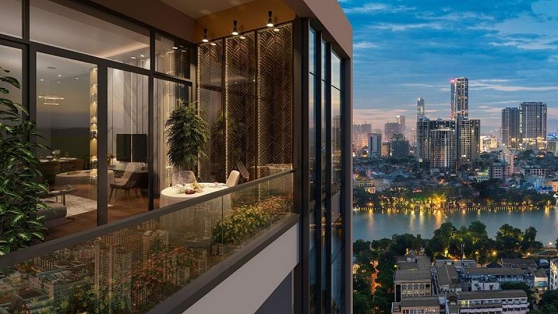 View từ căn hộ chung cư BRG Park Residence 25 Lê Văn Lương về đêm