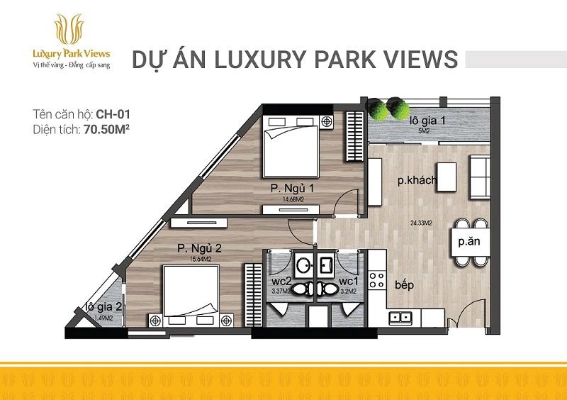 Thiết kế căn 01 chung cư Luxury Park View Cầu Giấy