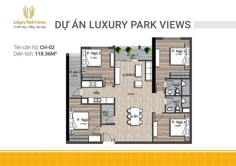 Thiết kế căn 02 chung cư Luxury Park View Cầu Giấy