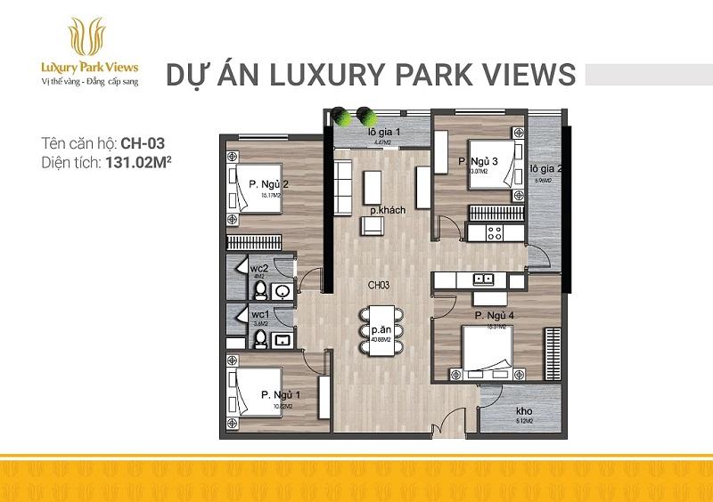 Thiết kế căn 03 chung cư Luxury Park View Cầu Giấy