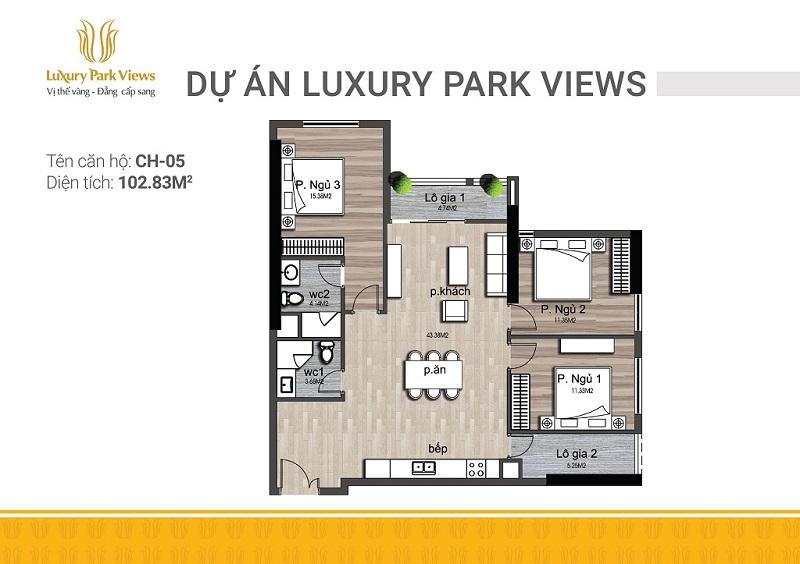 Thiết kế căn 05 chung cư Luxury Park View Cầu Giấy