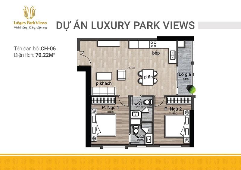 Thiết kế căn 06 chung cư Luxury Park View Cầu Giấy