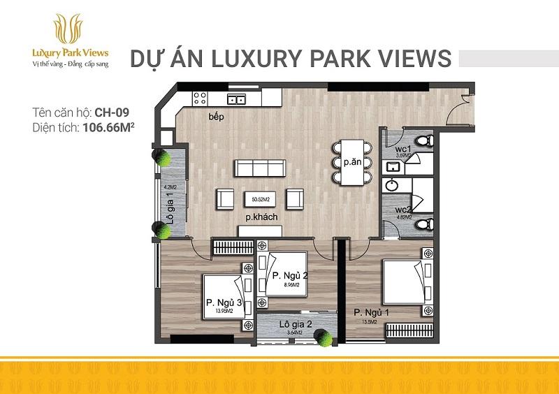 Thiết kế căn 09 chung cư Luxury Park View Cầu Giấy