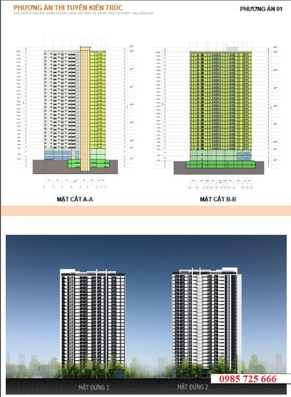 Kiến trúc chung cư C22 Bộ Công An - Dich Vọng