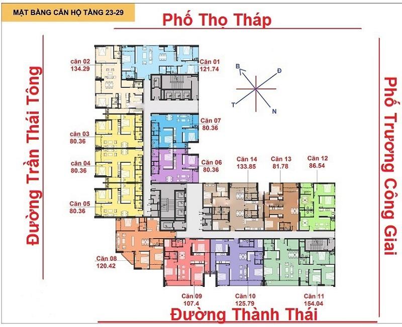Mặt bằng chung cư The Park Home (C22 Bộ Công An) Dịch Vọng tầng 23 đến 29