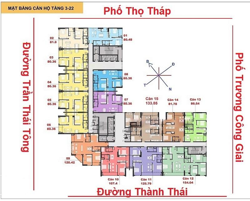 Mặt bằng chung cư The Park Home (C22 Bộ Công An) Dịch Vọng tầng 3 đến 22