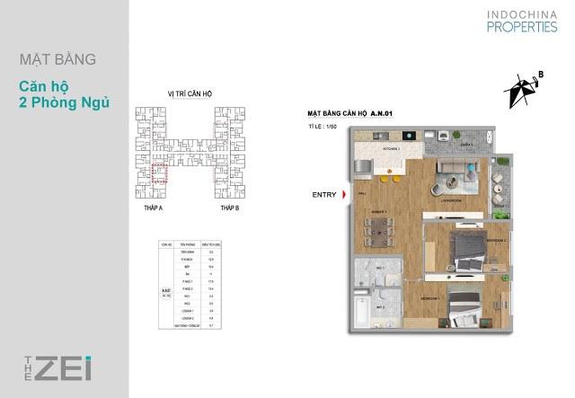 Thiết kế căn 2PN chung cư The ZEI 8 Lê Đức Thọ