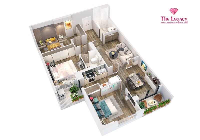 3D căn hộ loại A chung cư The Legacy 106 Ngụy Như Kon Tum