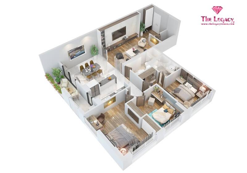 3D căn hộ loại B chung cư The Legacy 106 Ngụy Như Kon Tum