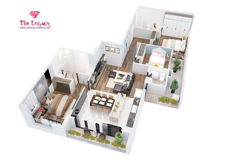 3D căn hộ loại C dự án chung cư The Legacy 106 Ngụy Như Kon Tum