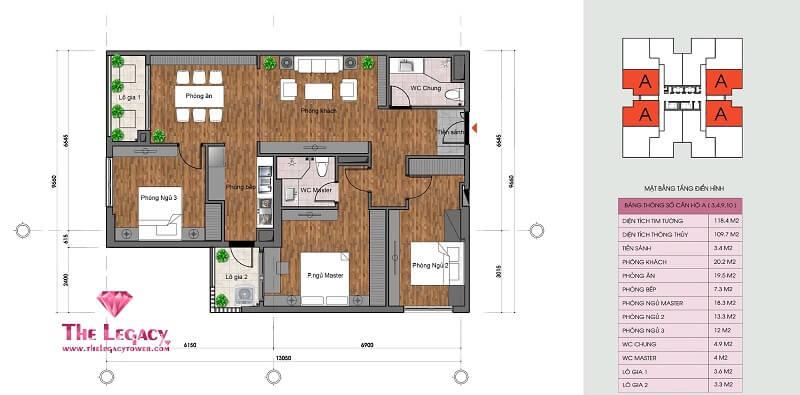 Thiết kế căn hộ loại A dự án chung cư The Legacy 106 Ngụy Như Kon Tum