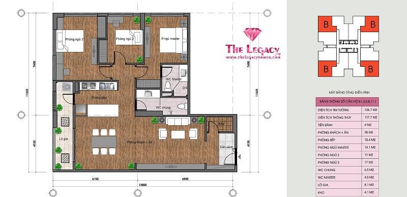 Thiết kế căn hộ loại B dự án chung cư The Legacy 106 Ngụy Như Kon Tum