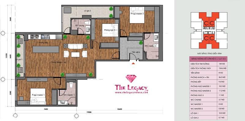 Thiết kế căn hộ loại C chung cư The Legacy 106 Ngụy Như Kon Tum