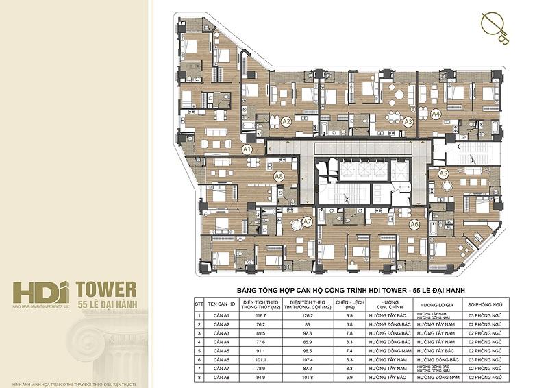 Mặt bằng căn hộ chung cư HDI Tower 55 Lê Đại Hành