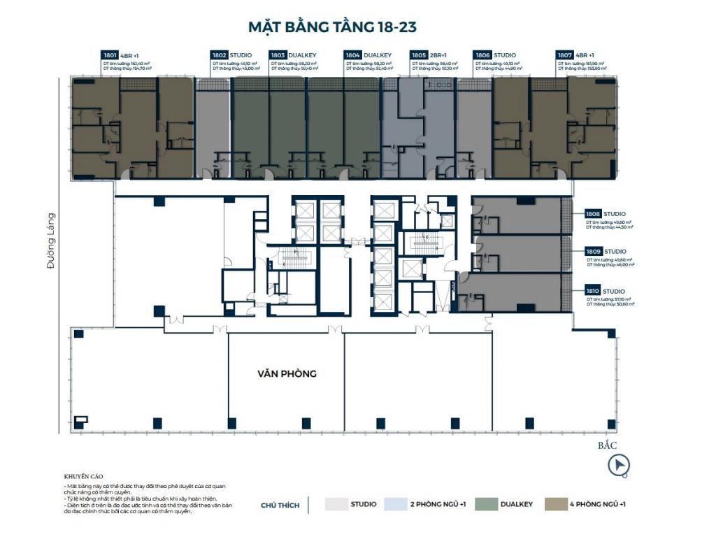 Mặt bằng căn hộ tầng 18-23 dự án Lancaster Luminaire 1152-1154 Đường Láng