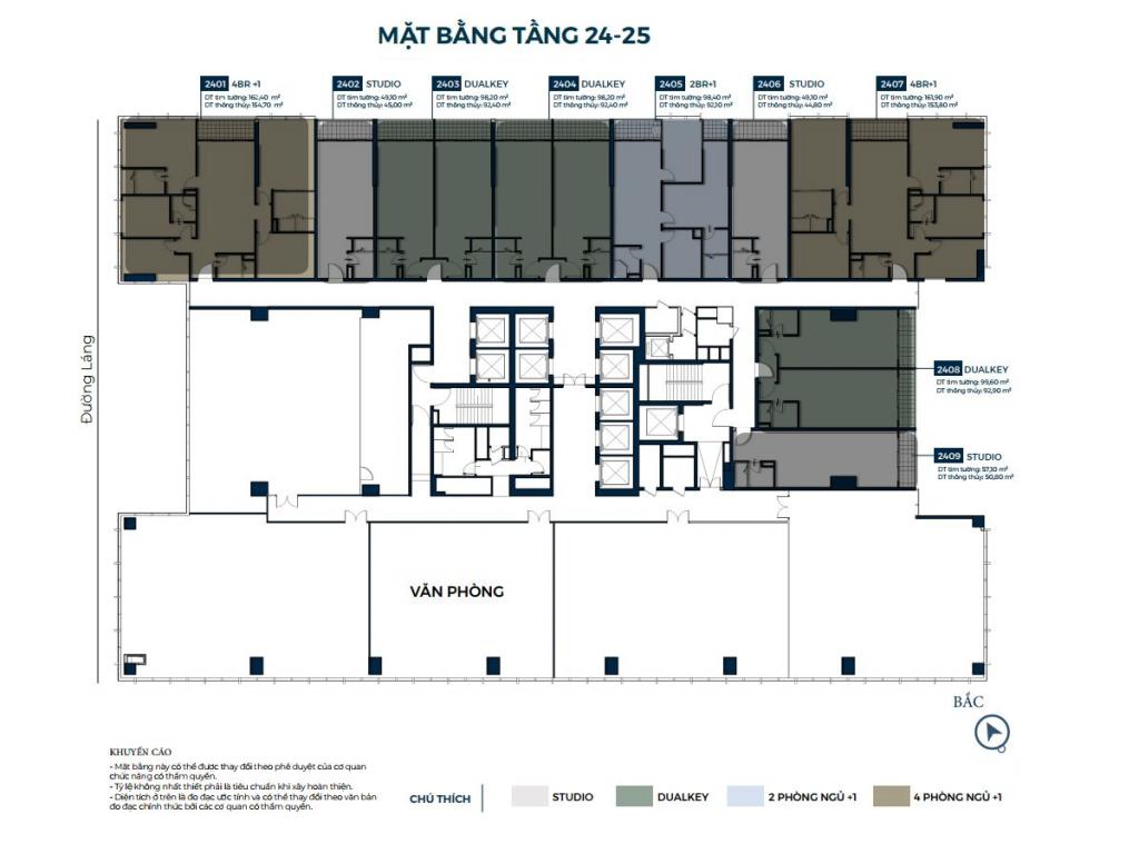 Mặt bằng căn hộ tầng 24-25 dự án Lancaster Luminaire 1152-1154 Đường Láng