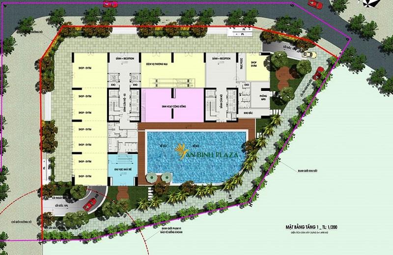 Mặt bằng tầng 1 An Bình Plaza 97 Trần Bình