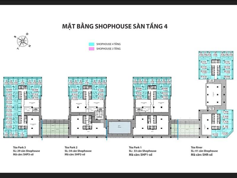 Mặt bằng tầng 4 Shophouse dự án Euro Window River Park Đông Trù