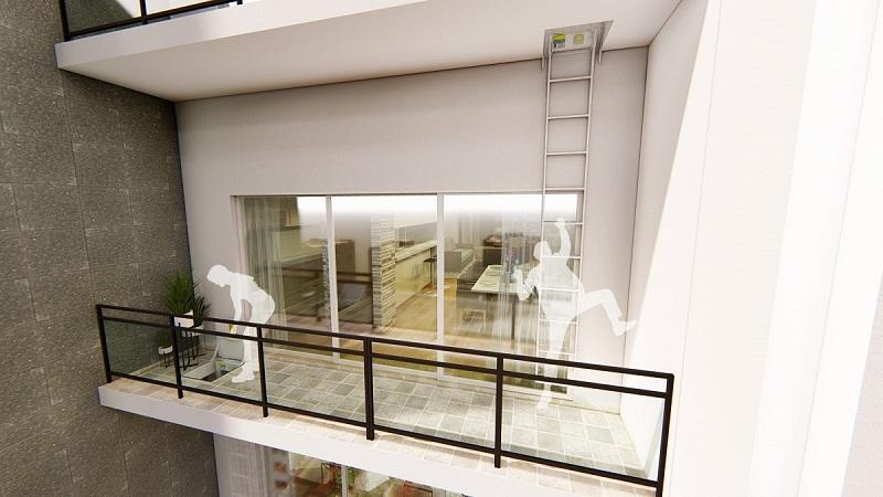 Thang thoát hiểm 2 dự án chung cư The Legacy 106 Ngụy Như Kon Tum