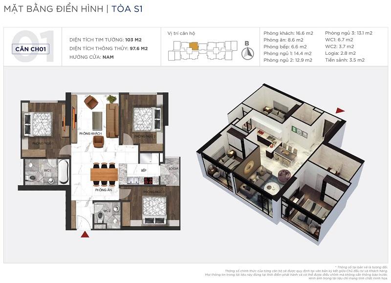 Thiết kế căn hộ 01 tòa S1 Sunshine City Ciputra Tây Hồ
