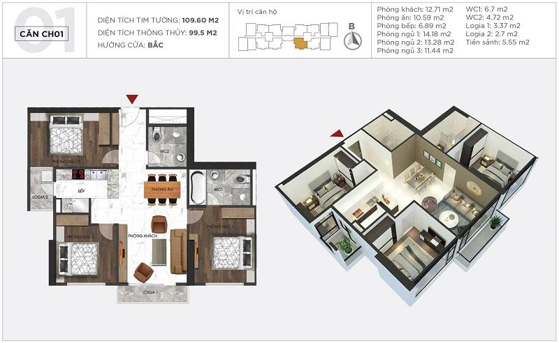 Thiết kế căn hộ 01 tòa S2 Sunshine City Ciputra Tây Hồ