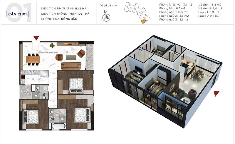 Thiết kế căn hộ 01 tòa S3 Sunshine City Ciputra Tây Hồ