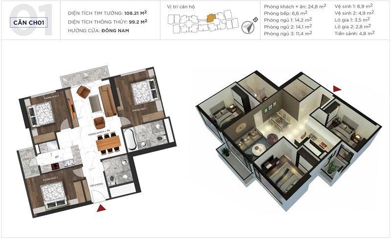 Thiết kế căn hộ 01 tòa S5 Sunshine City Ciputra Tây Hồ