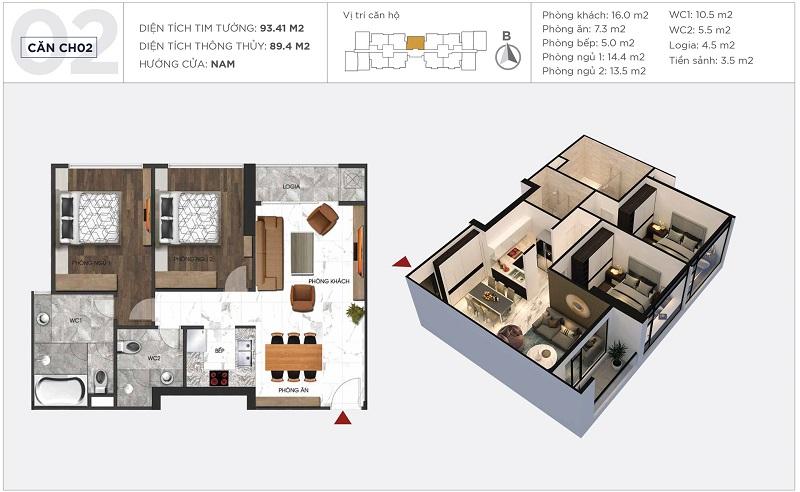 Thiết kế căn hộ 02 tòa S2 Sunshine City Ciputra Tây Hồ