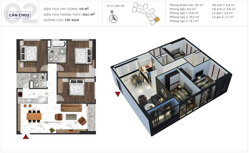 Thiết kế căn hộ 02 tòa S3 Sunshine City Ciputra Tây Hồ