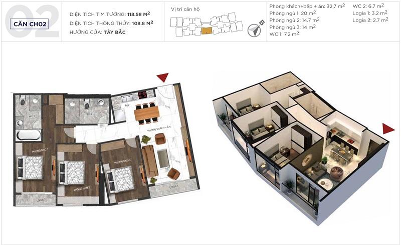 Thiết kế căn hộ 02 tòa S5 Sunshine City Ciputra Tây Hồ