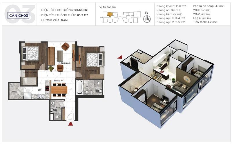 Thiết kế căn hộ 03 tòa S1 Sunshine City Ciputra Tây Hồ