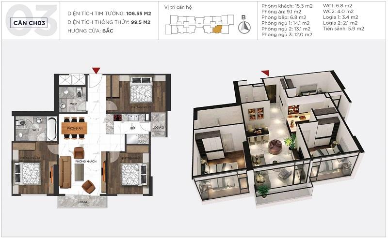 Thiết kế căn hộ 03 tòa S2 Sunshine City Ciputra Tây Hồ