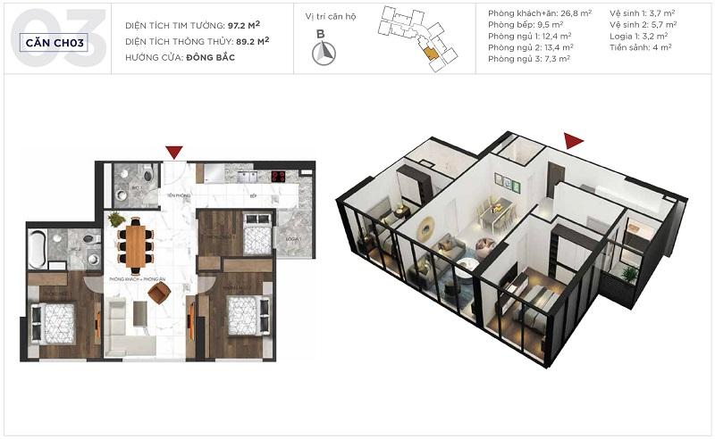 Thiết kế căn hộ 03 tòa S3 Sunshine City Ciputra Tây Hồ