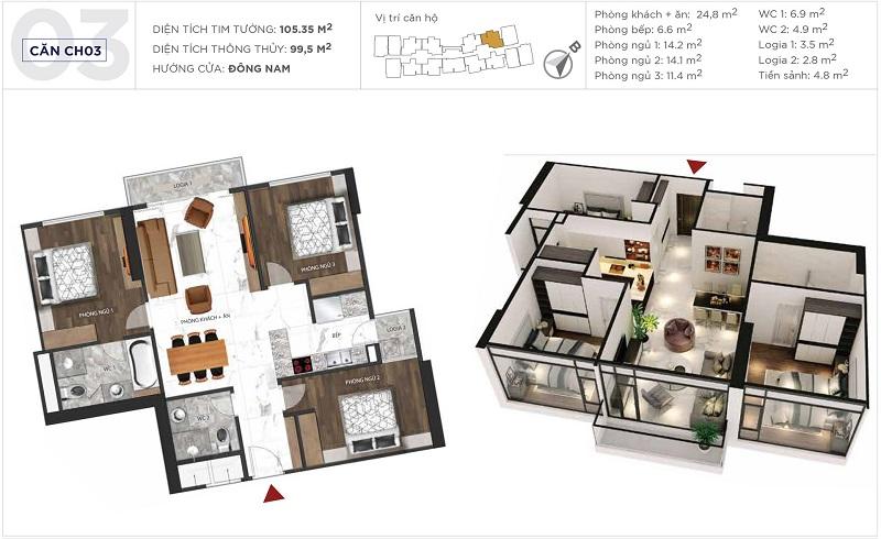 Thiết kế căn hộ 03 tòa S5 Sunshine City Ciputra Tây Hồ