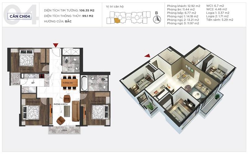 Thiết kế căn hộ 04 tòa S1 Sunshine City Ciputra Tây Hồ