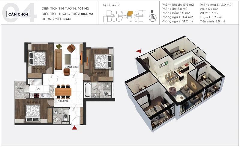 Thiết kế căn hộ 04 tòa S2 Sunshine City Ciputra Tây Hồ