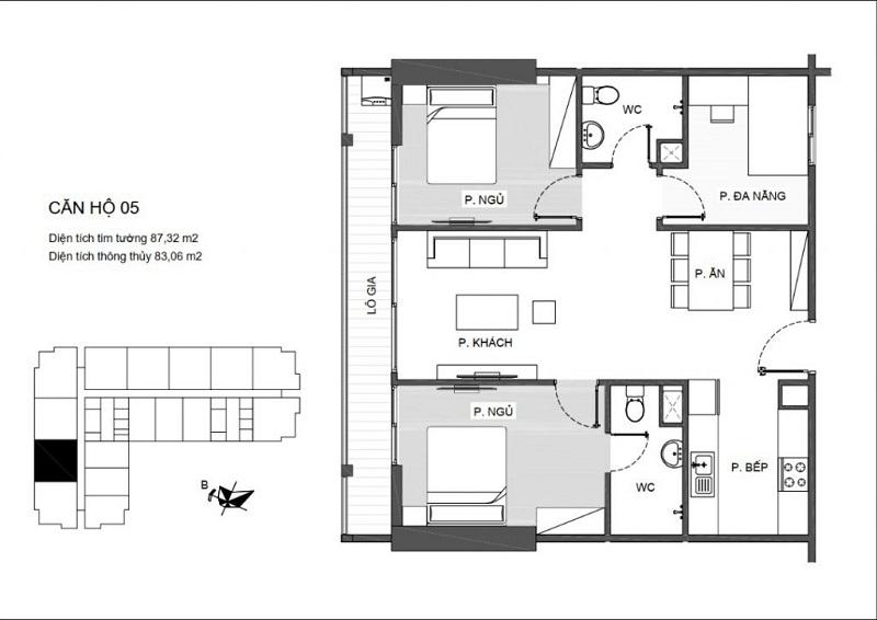 Thiết kế căn hộ 05 An Bình Plaza 97 Trần Bình