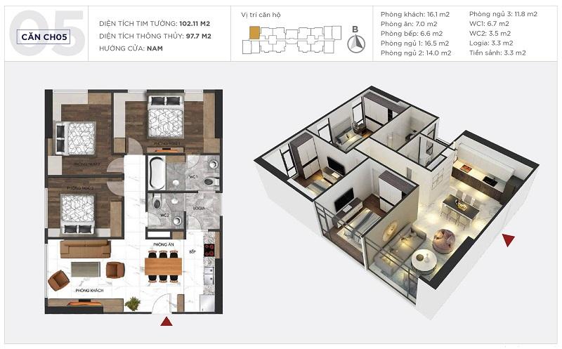 Thiết kế căn hộ 05 tòa S1 Sunshine City Ciputra Tây Hồ