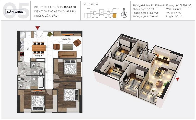 Thiết kế căn hộ 05 tòa S2 Sunshine City Ciputra Tây Hồ