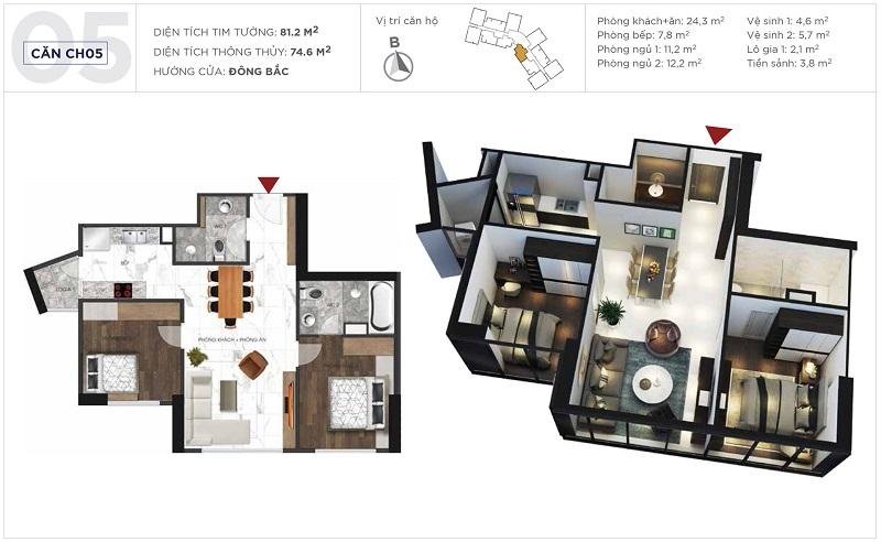 Thiết kế căn hộ 05 tòa S3 Sunshine City Ciputra Tây Hồ